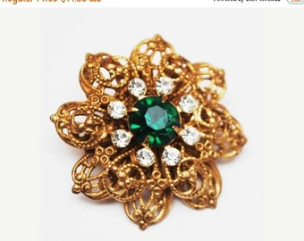 Flower Brooch gold filigree  green clear rhinestone pin