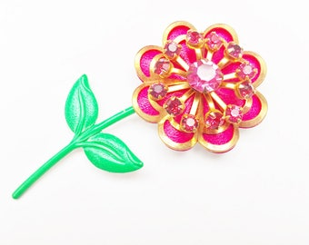 Pink Flower Brooch - Enamel flower - Rhinestone - floral Pin