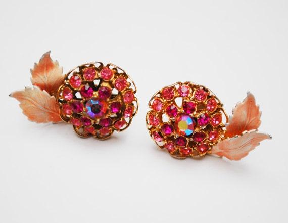 Pink Rhinestone Earrings  - Enamel leaf - Flower floral -Mid Century - clip on -Aurora Borealis