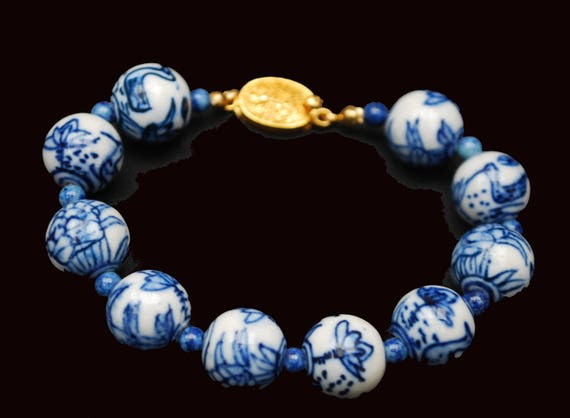 Blue White Porcelain bead bracelet - Asian - gold clasp - painted Birds flowers