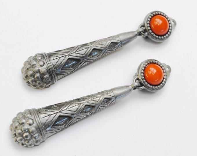 Ben Amum Dangle earrings - Orange Cabochon - Pewter Metal -Drop Clip on earrings - Signed