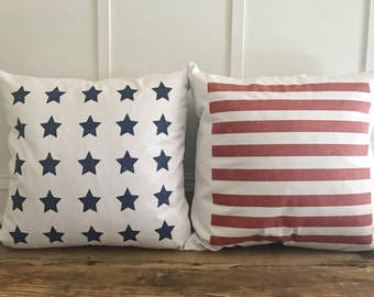 American Flag Pillow Cover Set