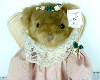 "Vintage Stuffed Bear - Purr-Fection by MJC 1988 Angel Bear and |Stand - Faux Mink 22"" Purr-fection by MJC World of Quality"