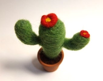 Needle felted mini cactus