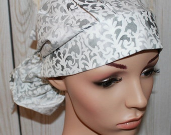White with Gray Flower Shop,Surgical Scrub Hat ,Scrub Cap,OR Nurses Cap,Vet,Vet Tech,Front Fold  Ponytail
