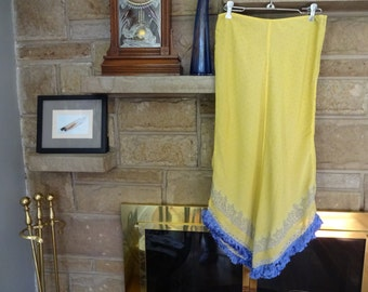 Bohemian Yellow Long polyester rayon Skirt with Blue Fringe Trim Size 7