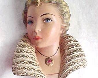 Vintage Plaster Chalkware Lady Head Wall Hanger Bust - 1950s - Frill Collar - Medieval Costume - Original Paint - Mid Century Decor Arts