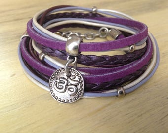 Leather Bracelet for Women Boho Wrap Bracelet, Yoga Inspired Bohemian Leather Wrap Bracelet Purple Tones Om Charm Gift for Her Gift for Yogi