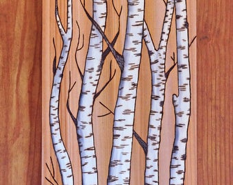 Woodburning, Pyrography, Forest Scene, Birch, Aspen, Trees, Woodland, Nature, Gift Idea, Wall Art