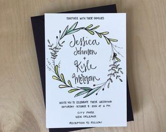 Greenery Wedding Invitation / Olive Branch Wreath Wedding Invite / Calligraphy Wedding Invitation Set / Watercolor Wedding Invitation