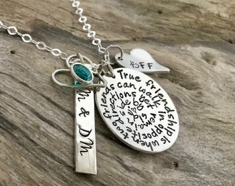 Best Friend Necklace | Friend Gift | Friendship Phrase Necklace | Hand Stamped Personalized | Long Distance Friendship