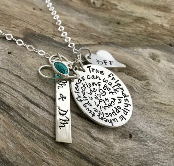 Mothers gift/Best Friend Necklace / Friend Gift / Friendship Phrase Necklace / Hand Stamped Personalized / Long Distance Friendship