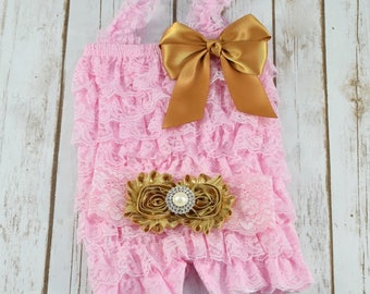 Gold and Pink First Birthday Outfit, Cake Smash Outfit, Cake Smash Outfit Girls, Baby Girl 1st Birthday Outfit, Lace Romper, Toddler Romper