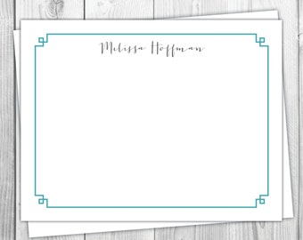 Personalized Stationery Flat Note Cards - Set of 12 - Custom Classic Greek Key Teal