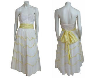 Vintage 1950s Party Dress Tulle Prom Gown Strapless Bodice, Full Skirt, Bow Sash