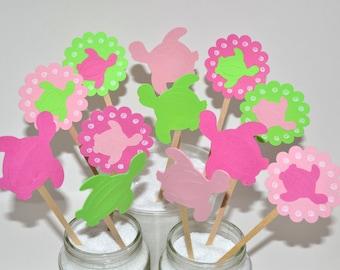 12 Sea Turtle Cupcake Toppers / Sea Turtle Birthday Ideas / Sea Turtle Party Decorations / Sea Turtle Party / Sea Turtle Invitation /