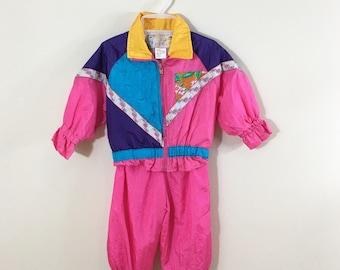80s Artic Racer Hot Pink Floral Track Suit Jacket and Pant Set, 18 months