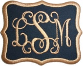 Customize Embroidered Vine Font Initial Monogram Iron On Applique Patch Black Fabric