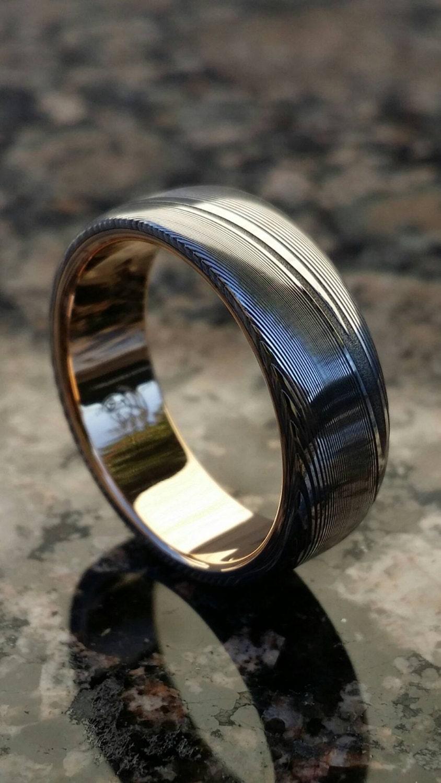 7 5mm damascus ring 18k rose gold stainless damascus steel dark