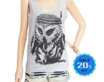 size S - Owl shirt owl tank cute tee cool top funny tee quote tank top tumblr tank teen tank top women tank top gray tank top screen print