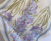 """Vera Neumann Ivory Floral Acetate Scarf 14"""" x 42"""" Long - Affordable Scarves!!!"""