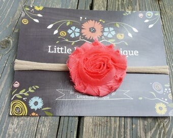 60% off purchase...Coral shabby headband