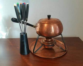 Metawa Holland Trademark Copper Fondue Pot with Tray & Forks