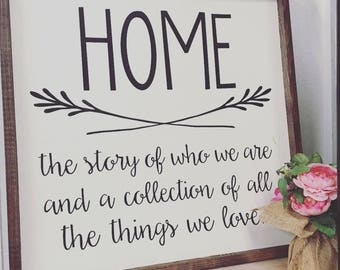 Home - the story of us painted wood sign