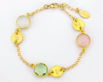 Personalized birthstone bracelet - Grandmother Jewelry, Mothers Bracelet, Family bracelet - Handstamped initials - grandchildren birthstones