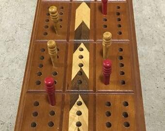 Cribbage Board, Cribbage Game, Vintage Game, Horn Game, Cribbage Set, Retro Game, Wood Board Game, Wood Inlay Game, Vintage Board Game