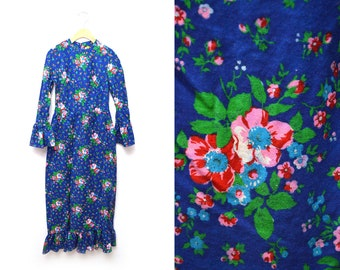 70s Floral Dress Full Length Womens Small Ruffle XS