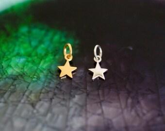 Mini Star Charm - Sterling Silver Star Charm - Star Charm - Gold Star - Initial Charm - Initial Jewelry - Gold Star Charm