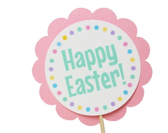 Happy Easter Cupcake Toppers - Easter Party Decorations - Pastel Party Decorations