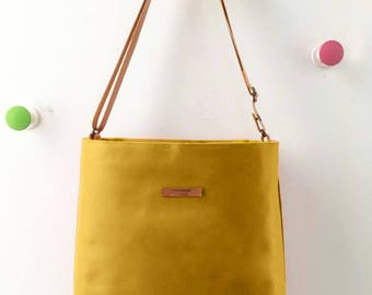 Mustard Leather tote, yellow leather bag,custom color inside,whit your name, colors leather strap,handbag,Tote bag,minimalistic bag