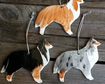 Sheltie Ornament, Ceramic Shetland Sheepdog Ornament, Collie Ornament, Handmade pottery Border Collie Ornament, Dog Ornamnet, AKC Collie Dog