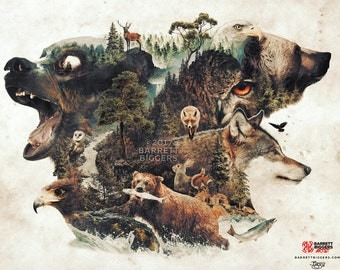 The northern forest animals a nature animals surrealism mountains digital art signed premium quality giclée print