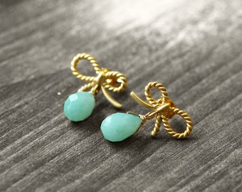 RIBBON Studs Bow and Gem | gold