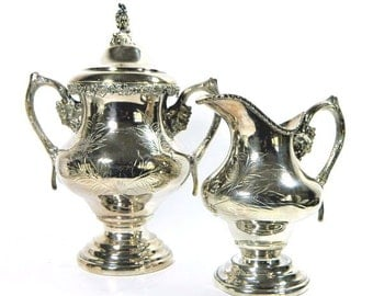 Antique Case & Co Large Silverplate Creamer and Sugar Bowl Grape Pattern