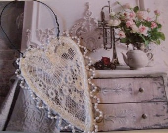Shabby Chic Lace Heart Wall Hanging  Beaconhillcollect  We ship internationally