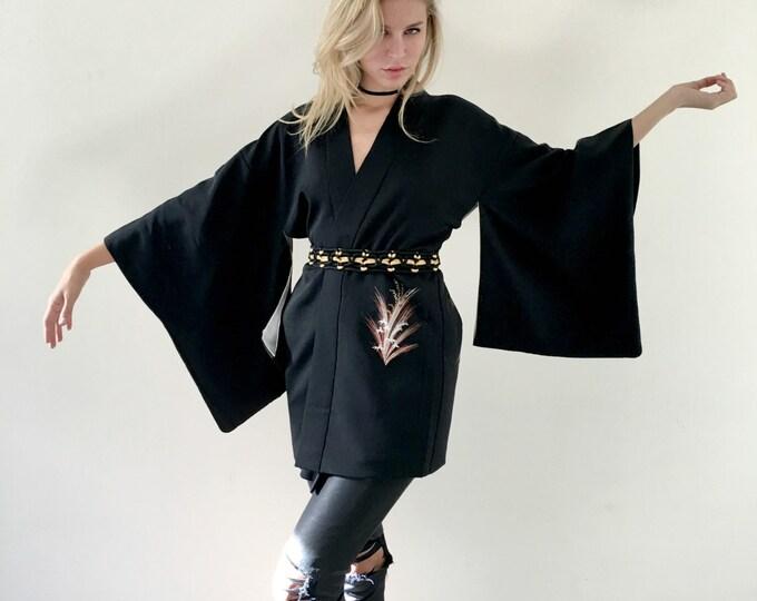 Vintage Haori Kimono Authentic Black Short Jacket