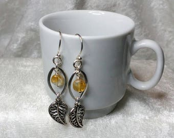 Sterling Silver Leaf with Citrine - Dangle Earrings