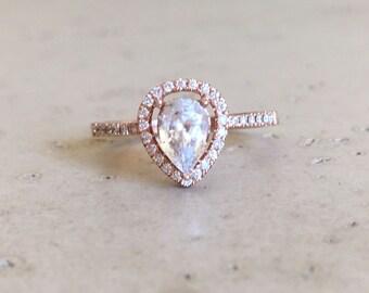 Rose Gold White Sapphire Engagement Ring- Halo Pear Shape Sapphire Ring- White Sapphire Promise Ring- Alternative Engagement Ring