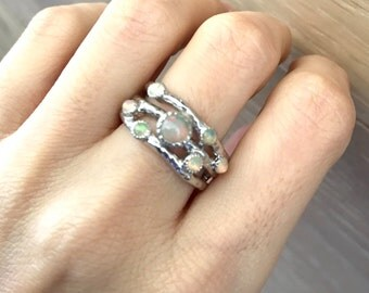 Opal Wedding Band Ring- Triple Branch Statement Ring- Unique Branch Engagement Ring- Nature Inspired Mulitstone Ring-October Birthstone Ring
