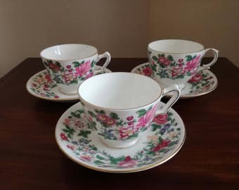 Staffordshire fine bone china floral patterned duo