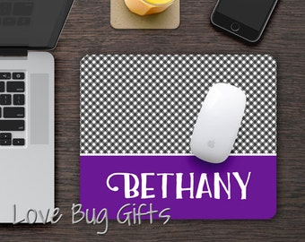 Personalized Mousepad * Gingham * Choose your color * Name * Desk accessory *