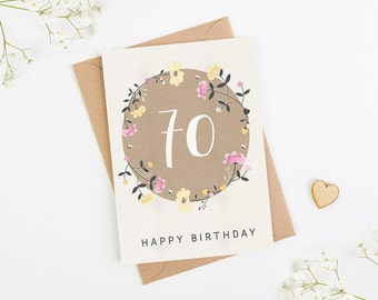 70th Birthday Card Floral