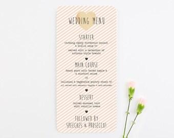 Peach stripe wedding menu