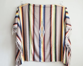 Vintage Mexican Saltillo Blanket Cactus Fiber Serape Striped