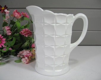 Milk Glass Pitcher, Westmoreland Pitcher, Farmhouse, Cottage, Country