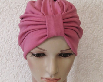 Pale rose turban hat, viscose jersey turban for women, retro style turban, front knotted turban, chemo turban, elegant head wear for women